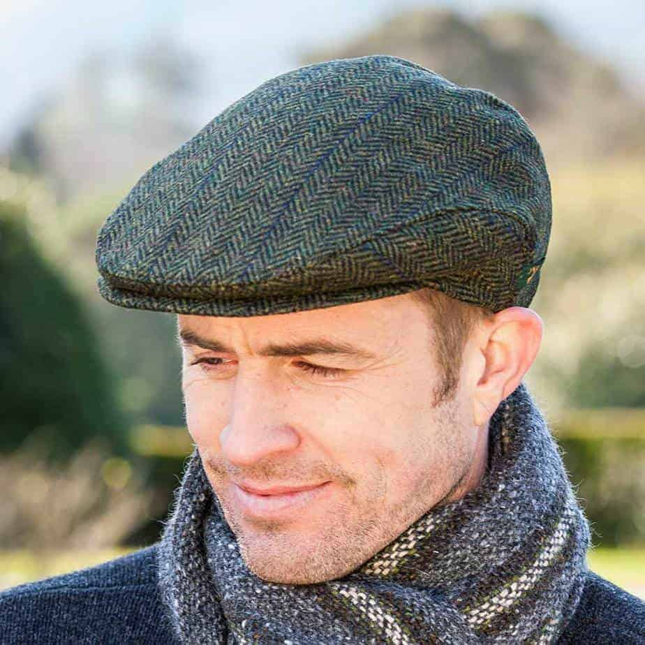 Donegal Tweed Cap - Green - Made from 100% Irish Wool 8041a4d4d29