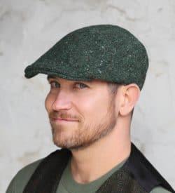 Hanna Hats Tweed Flat Cap - Green.
