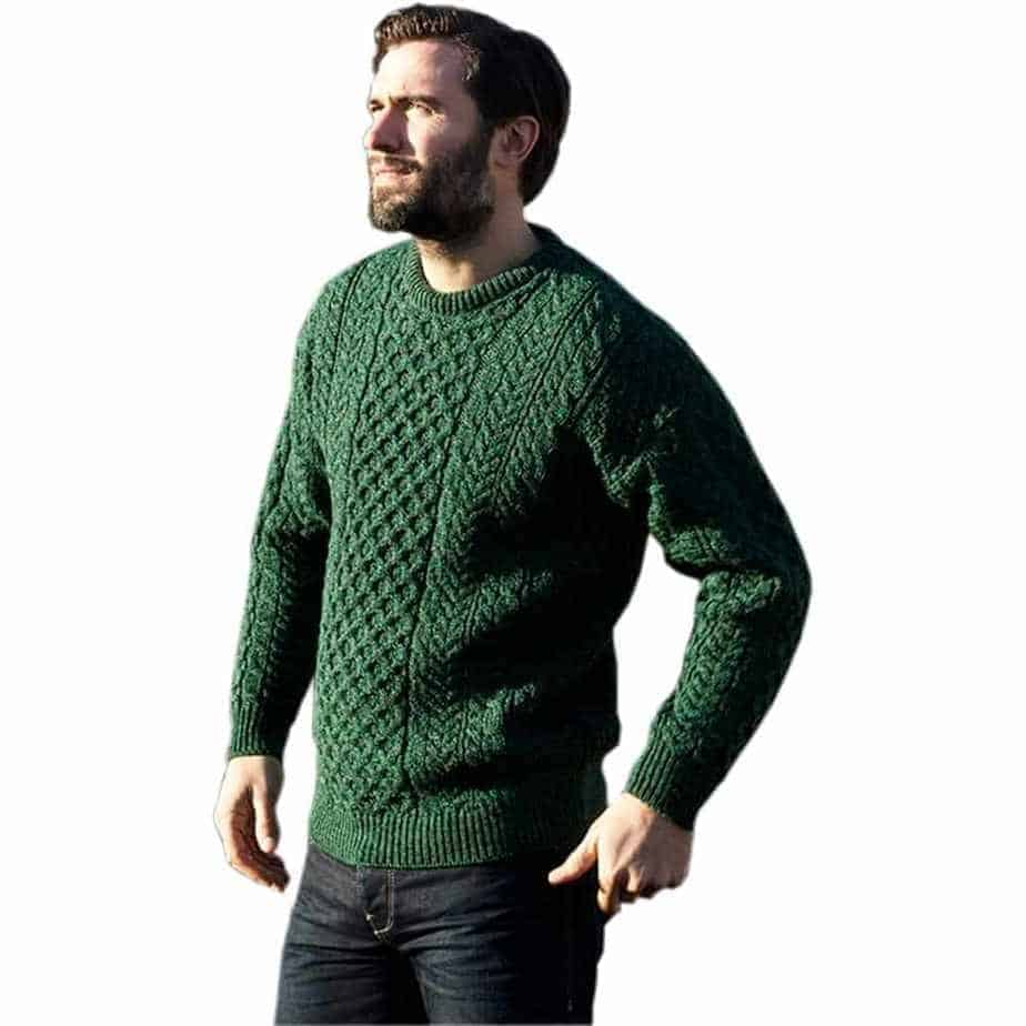 Wool Sweater for Men , Dark Green , Imported from Ireland.