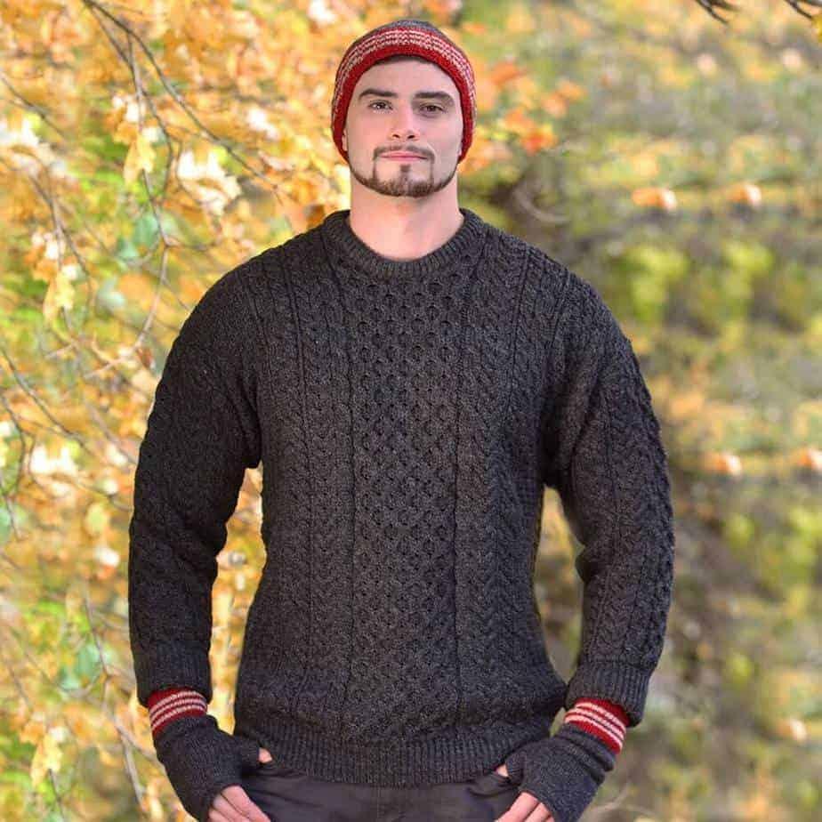 Irish Wool Sweater Charcoal Gray Made From 100 Pure Irish Wool