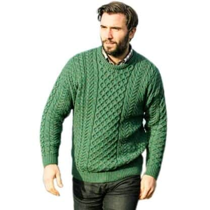 Green Wool Sweater for Men. Made in Ireland.