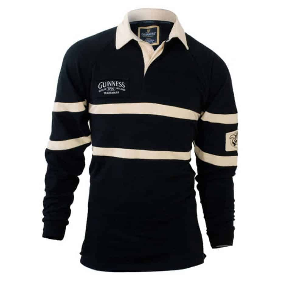 guinness rugby shirt black and tan