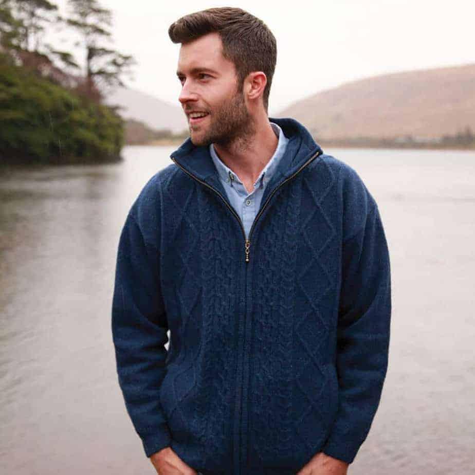 Irish Wool Sweater Blue Full Zip 100 Wool Made In Ireland