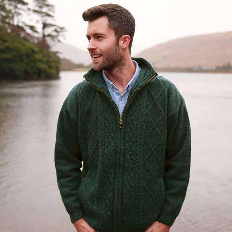 Men\u0027s Green Wool Cardigan