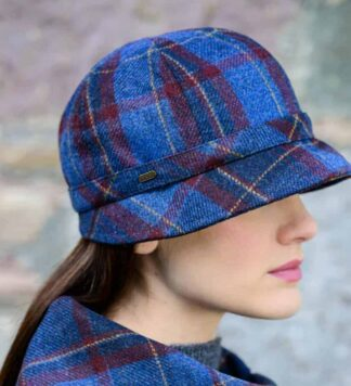 Plaid Flapper Hat from Ireland. Blue and Red.