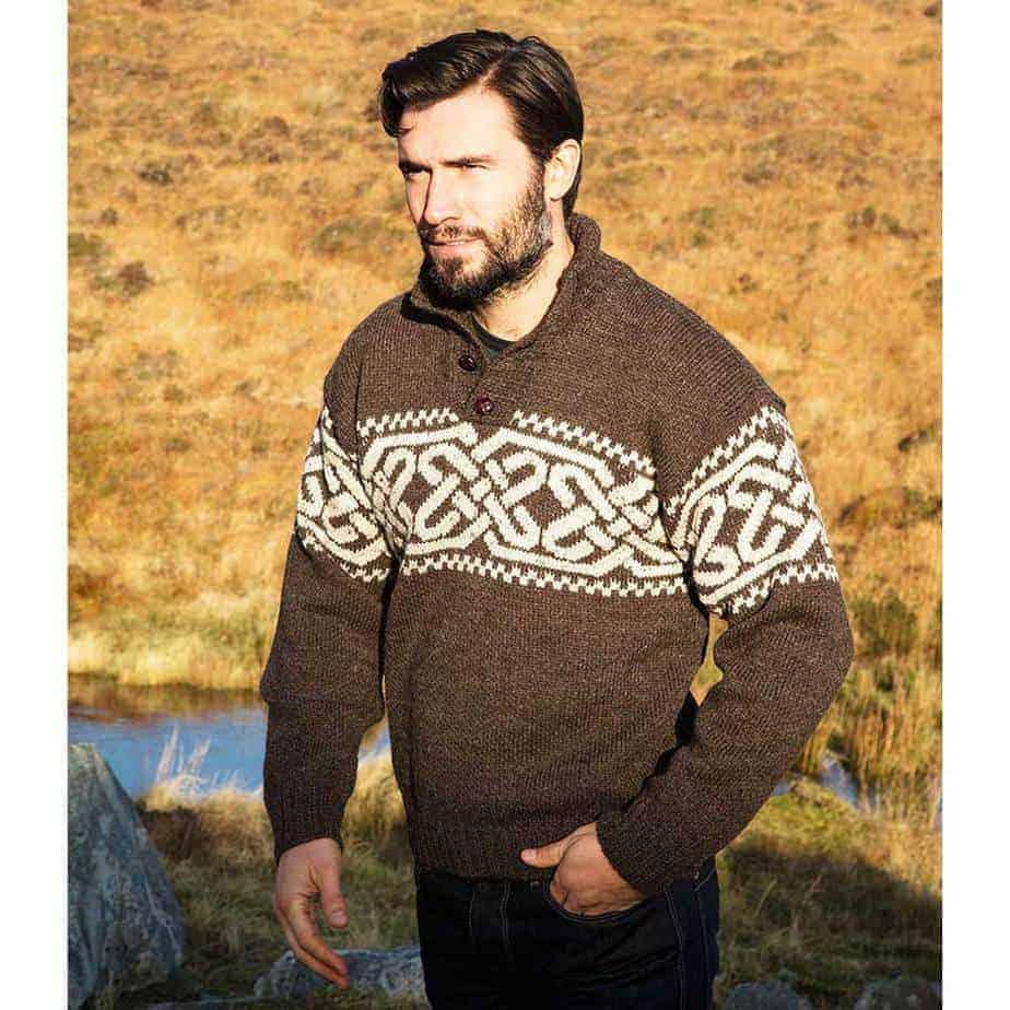 Irish Wool Sweater For Men Celtic Knot Design Authentic Irish