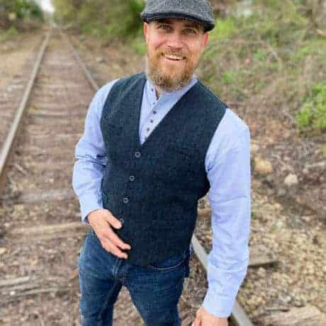 Blue Tweed Vest with Shirt