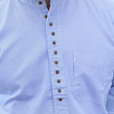 Blue and White Pinstripe Grandfather Shirt