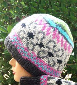 Wool Beanie Cap - Pink & Gray