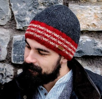 Wool Beanie Cap - Grey and Red