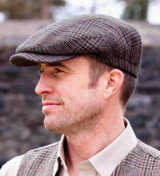 Irish Newsboy Tweed Cap Gray & Brown
