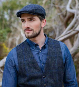 Tweed Vest - Police Blue