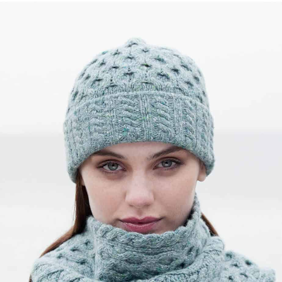 e8e257abb Women's Irish Aran Wool Knit Hat - Ocean Mist