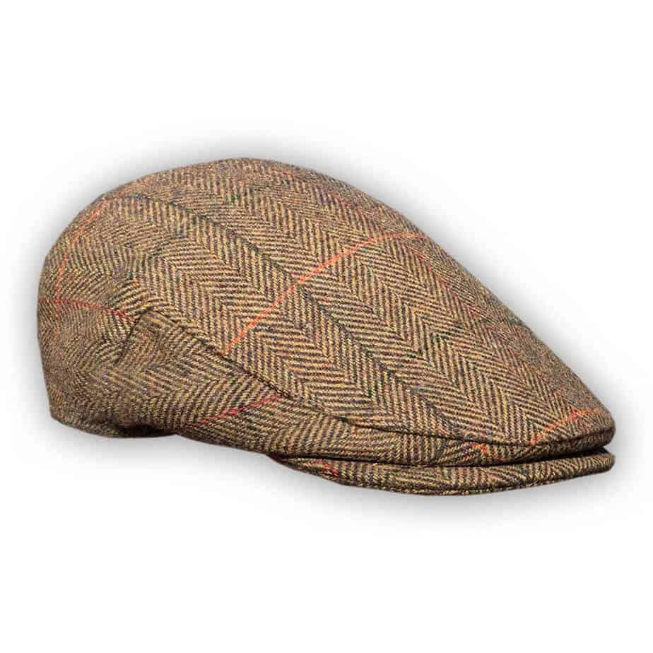 BROWN HERRINGBONE TWEED WOOL FLAT CAP 5 SIZES