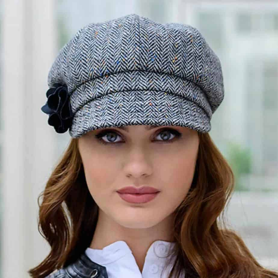 Ladies Newsboy Cap - Gray Tweed - Celtic Clothing Company 062f9f416a6