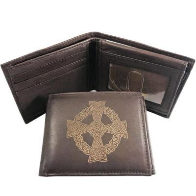 Celtic Sun Cross Leather Wallet