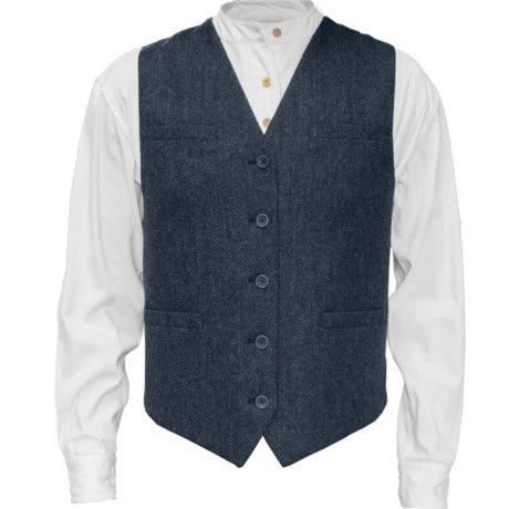 Irish Tweed Vest Blue