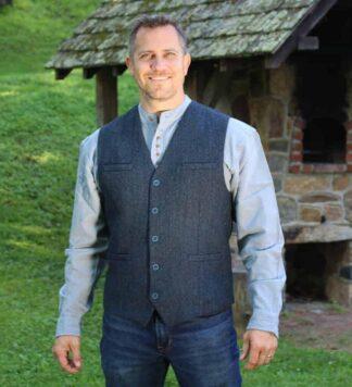Blue Tweed Vest