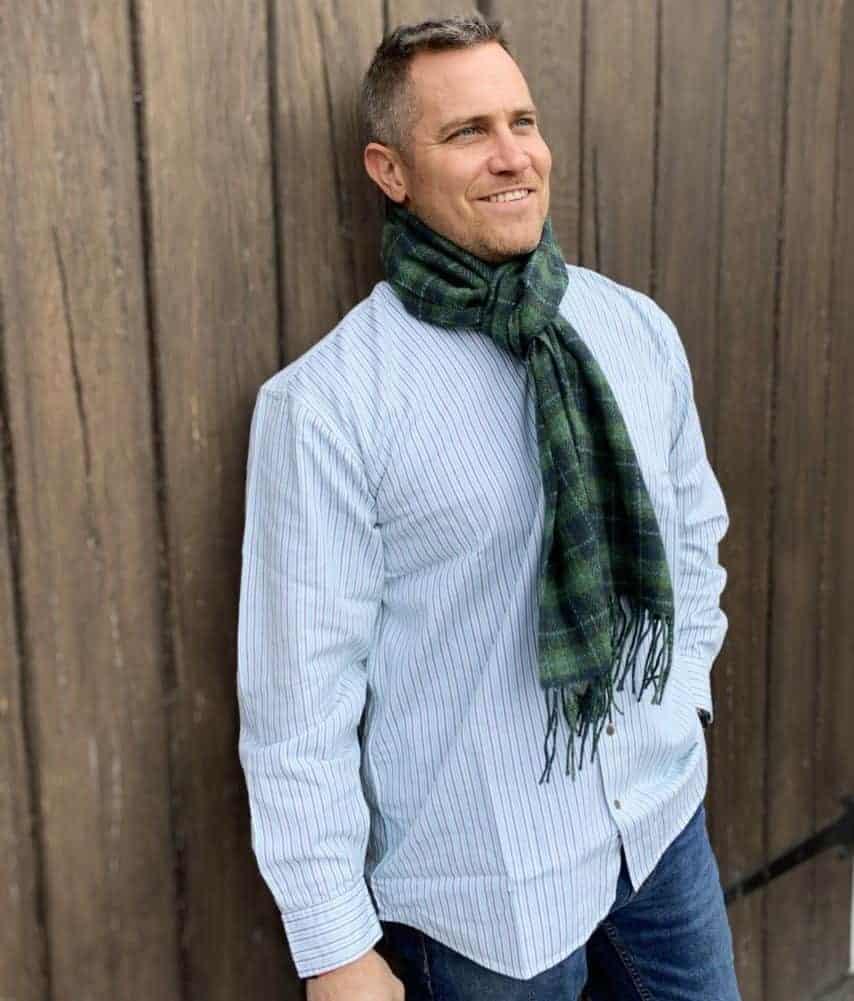 Grandfather Shirt & Irish Wool Scarf.