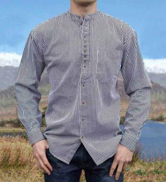 Irish Grandfather Shirt - Blue Pinstripe