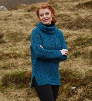 Ladies Irish Wool Sweater Blue