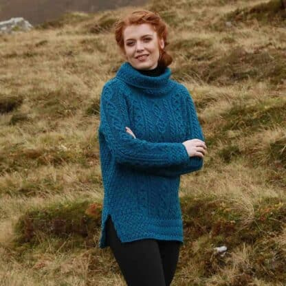 Ladies Irish Wool Sweater Blue