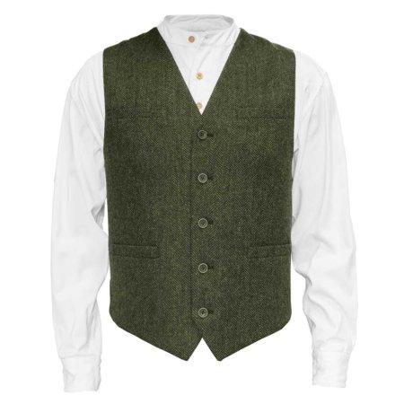 Irish tweed vest olive green