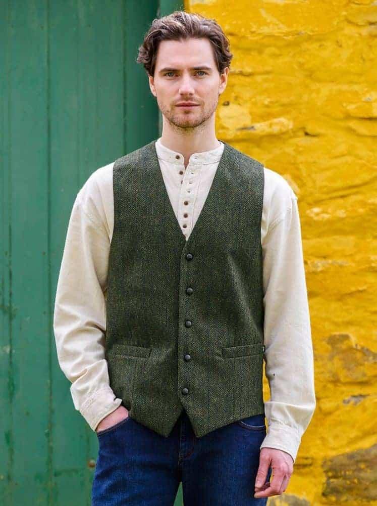 Mucros Weavers Green Vest. Make in Ireland.