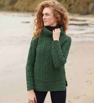 Womens Green Round Neck Irish Wool Sweater