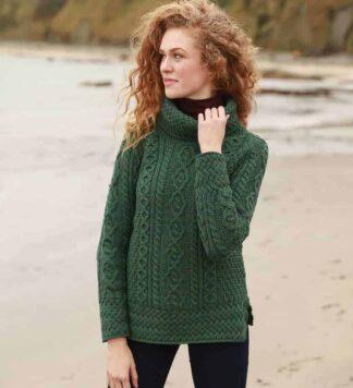 Womens Green Round Neck Irish Wool Sweater