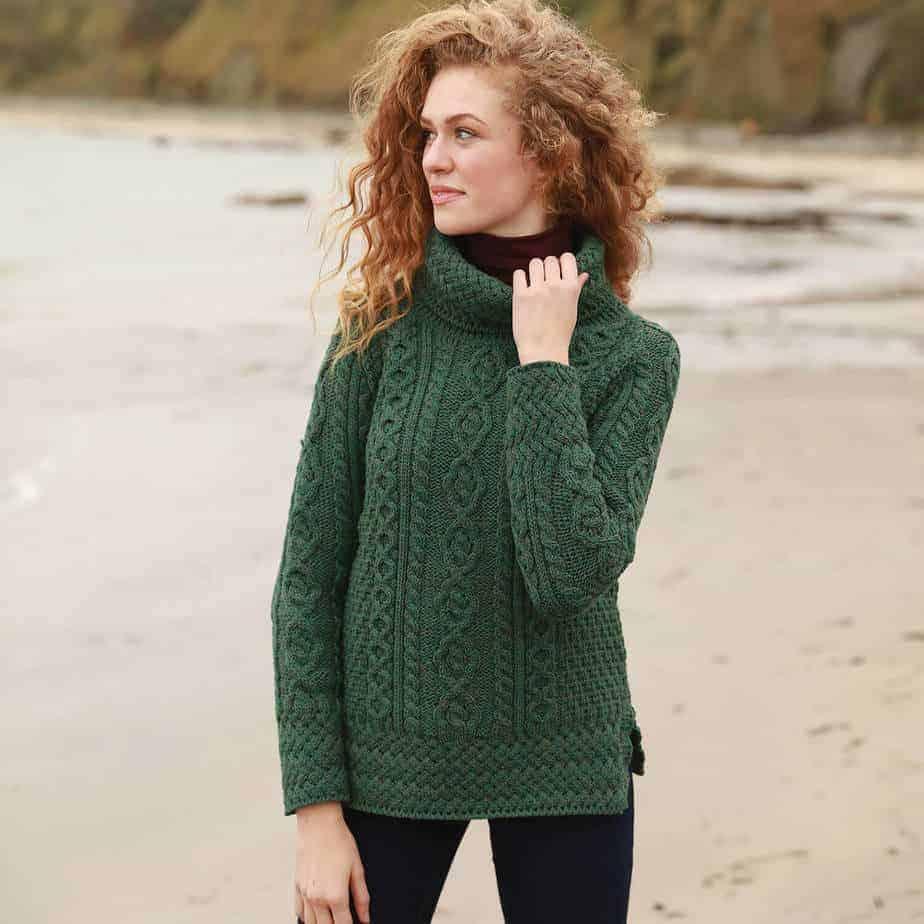 Cowl Neck Women's Wool Sweater Green