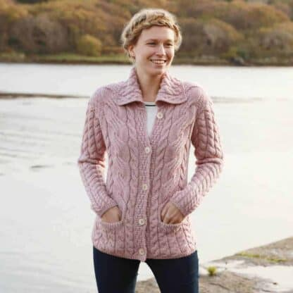 Women's Knit Cardigan - Pink Cable Knit