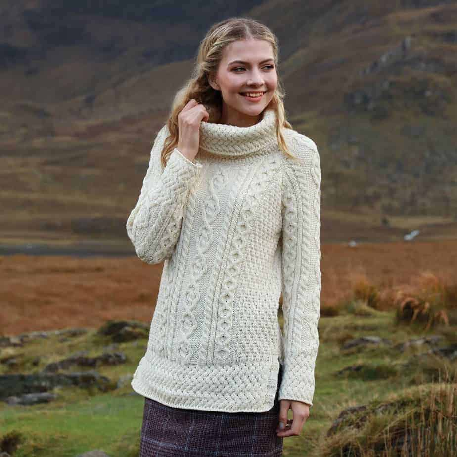 Women's Cowl Neck Wool Sweater | Celtic Clothing Company