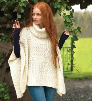 Irish Wool Sweater Cowl Neck