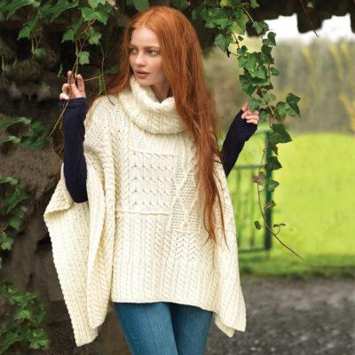 Irish Wool Sweater Cowl Neck