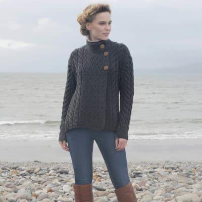 Women's Luxury Irish Wool Sweater, Gray