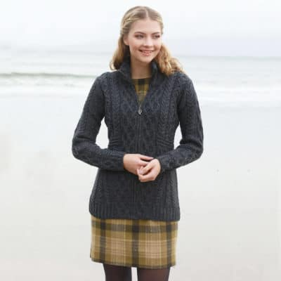 Womens Gray Wool Cardigan - Zip