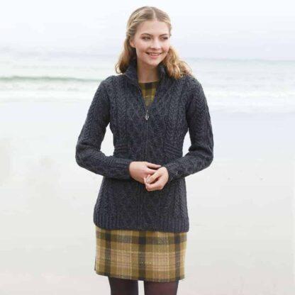 Womens Gray Wool Cardigan - Zip