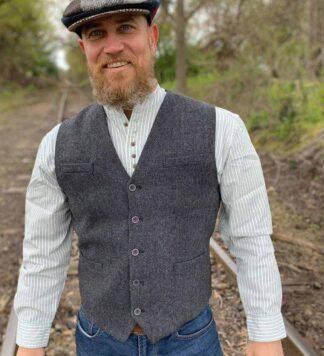Gray Tweed Vest for Men