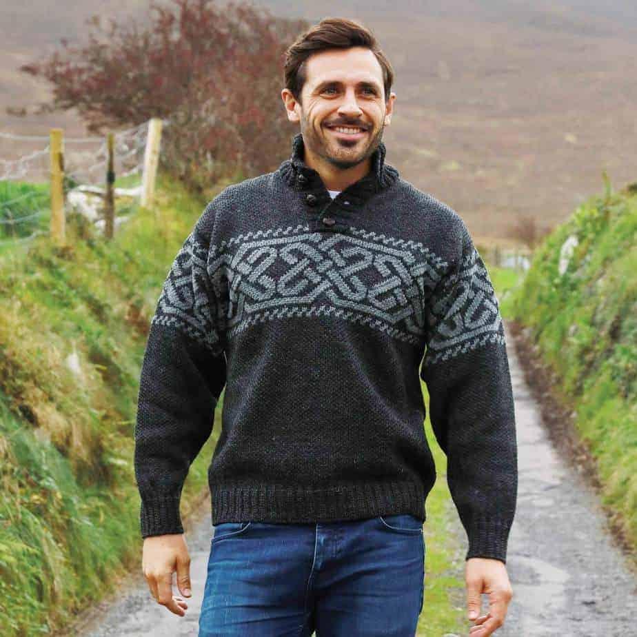 Mens Irish Wool Sweater 100/% Real Irish Wool Natural Traditional Knit Pattern