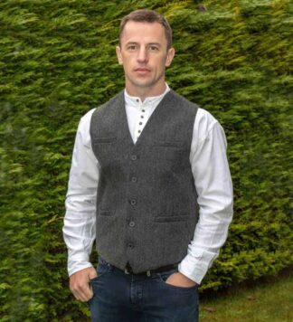 Men's Tweed Vest Gray