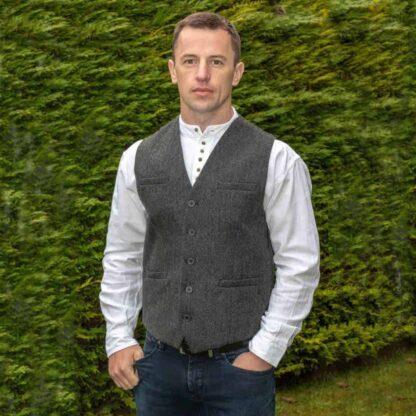 Men's Tweed Vest Gray