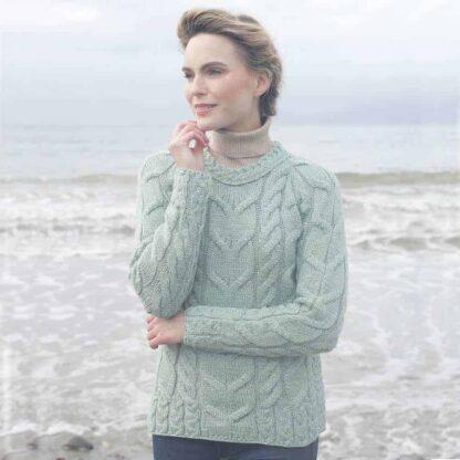 Raglan Aran Sweater Blue