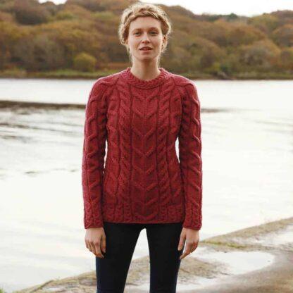 Irish Wool Sweater Red, Raglan Style