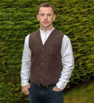 Brown Tweed Vest for Men