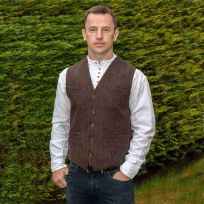 Brown Tweed Vest for Men