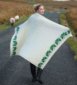 Irish Wool Shamrock Blanket