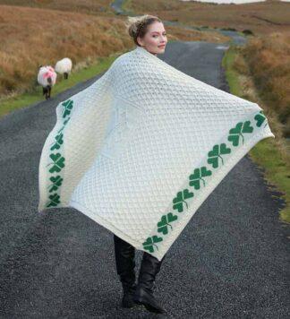 Irish Wool Shamrock Blanket