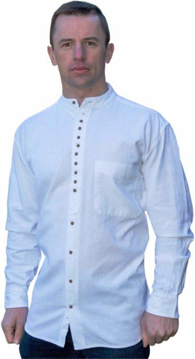 Traditional-White-Irish-Linen-Shirt