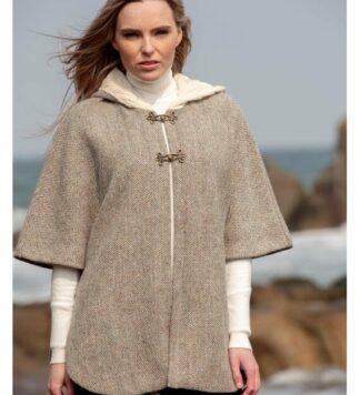 Tweed and Wool Cape Jacket